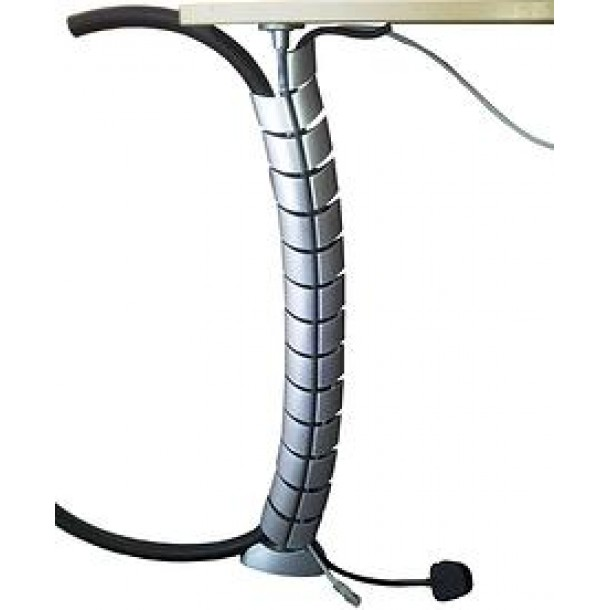 Desk Cable Spine 740mm - 2 Compartment - Silver