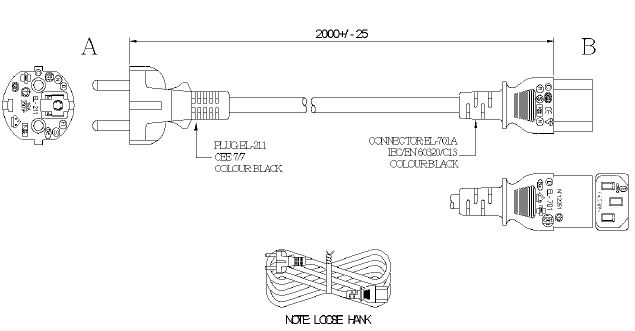 Drawing of Straight Schuko plug to IEC C13
