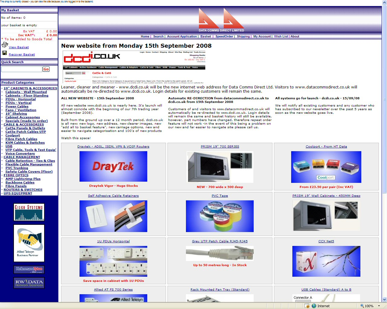 Data Comm Direct's website circa 2002 ...